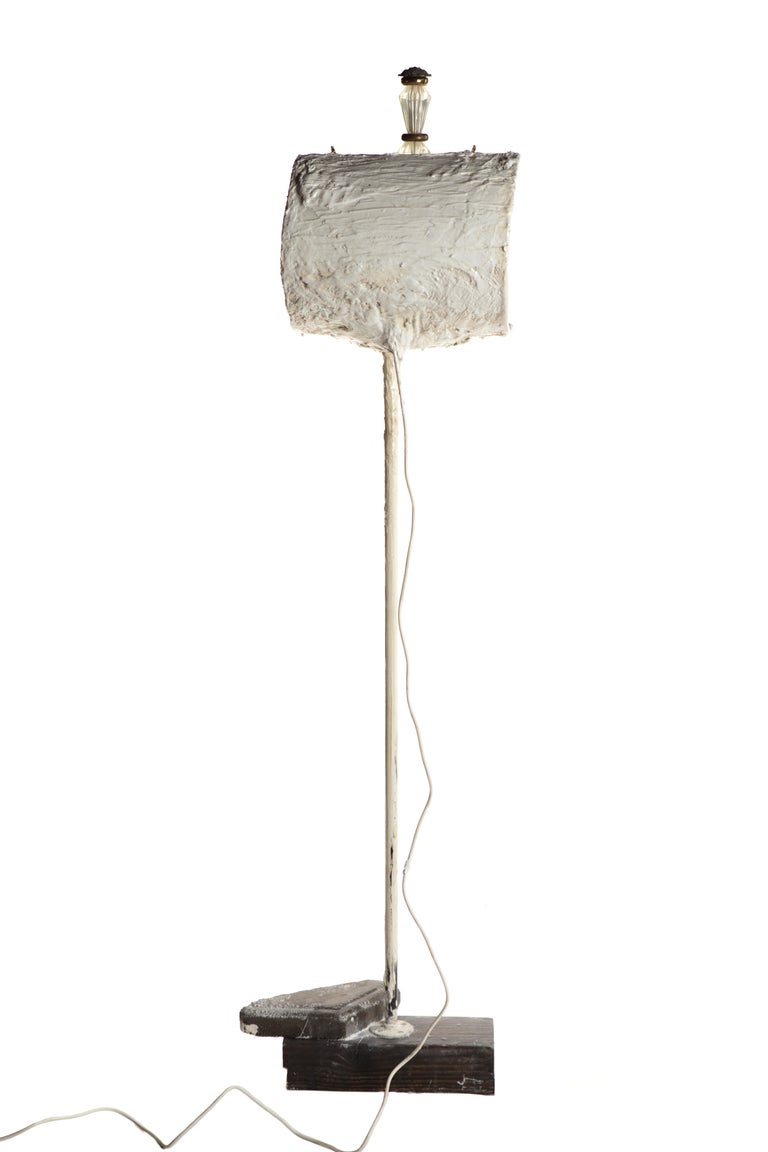 Hand-Crafted White Plaster Sculptural Floor Lamp, 21st Century by Mattia Biagi For Sale