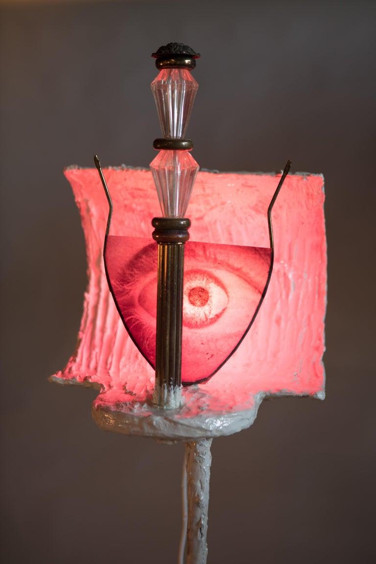 White Plaster Sculptural Floor Lamp, 21st Century by Mattia Biagi For Sale 1