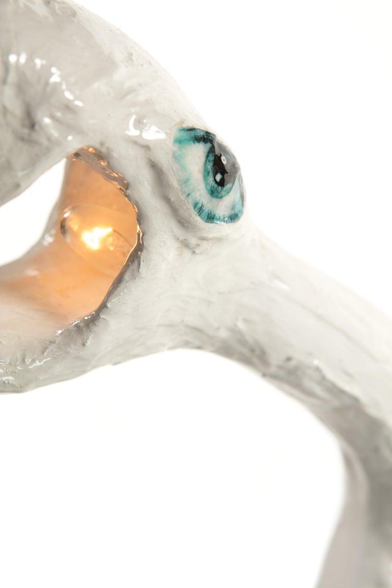 White Plaster Sculptural Table Lamp, 21st Century by Mattia Biagi For Sale 3