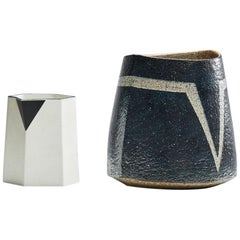 Sculptural Porcelain Pitcher and Stoneware Vase by Bodil Manz, Denmark