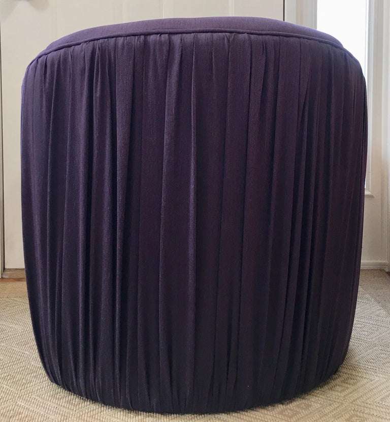 Sculptural Purple Ruched Lounge Chair and Souffle Pouf Ottoman Set, 1980s In Good Condition For Sale In Lambertville, NJ