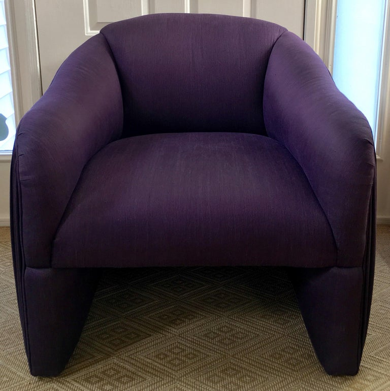 Late 20th Century Sculptural Purple Ruched Lounge Chair and Souffle Pouf Ottoman Set, 1980s For Sale