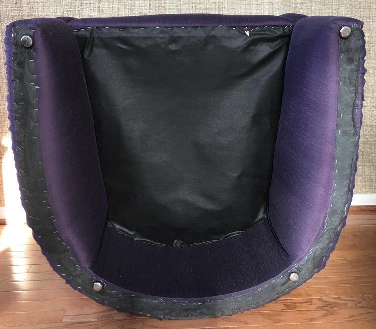 Sculptural Purple Ruched Lounge Chair and Souffle Pouf Ottoman Set, 1980s For Sale 2