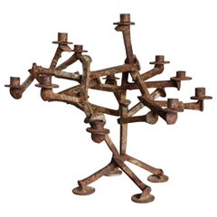 Sculptural Railroad Spike Candleholder, circa 1965