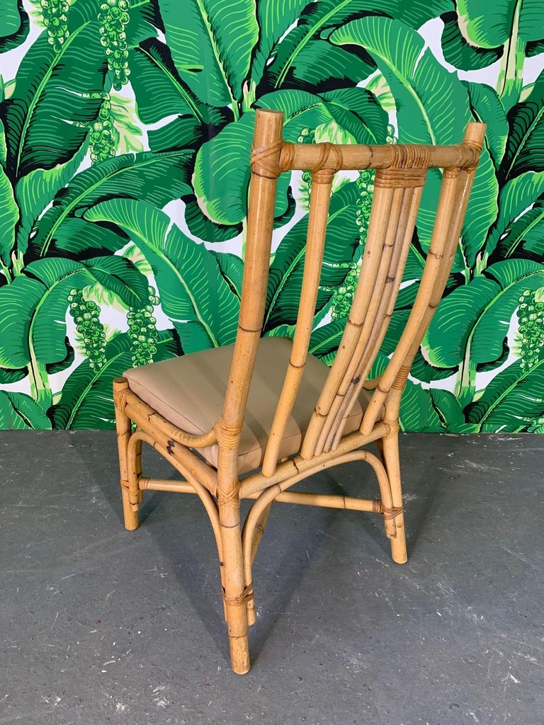 Late 20th Century Sculptural Rattan Dining Chairs, Set of 6 For Sale