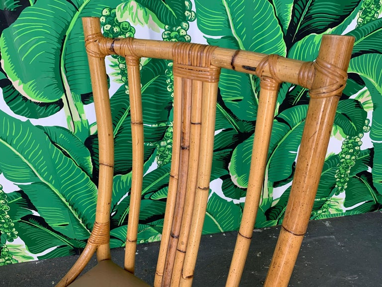 Bamboo Sculptural Rattan Dining Chairs, Set of 6 For Sale