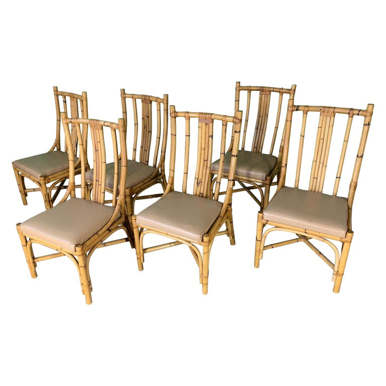 Sculptural Rattan Dining Chairs, Set of 6 For Sale