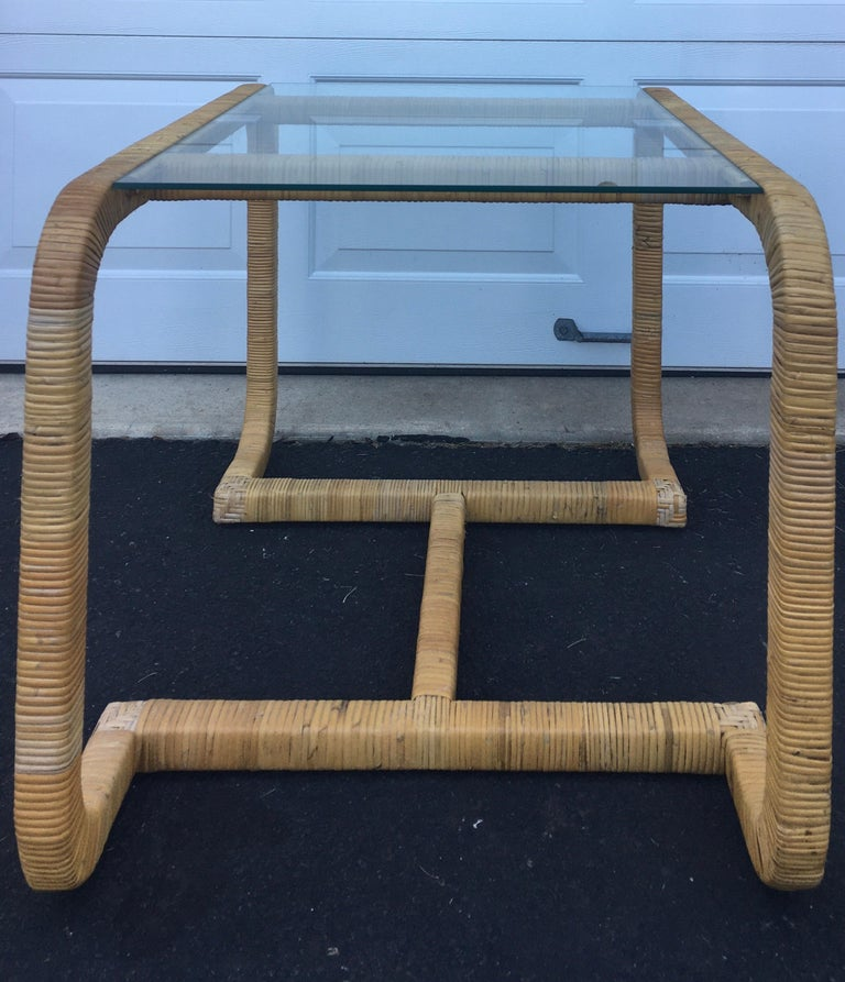 Sculptural Rattan Wrapped Glass Side Table, Palm Regency In Good Condition For Sale In Lambertville, NJ