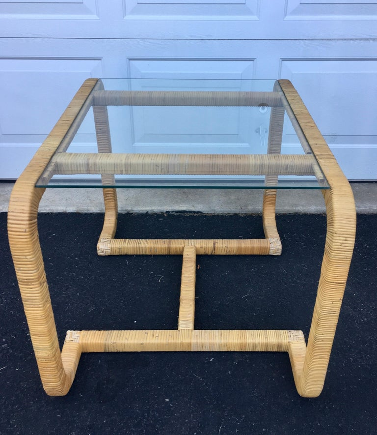 Late 20th Century Sculptural Rattan Wrapped Glass Side Table, Palm Regency For Sale