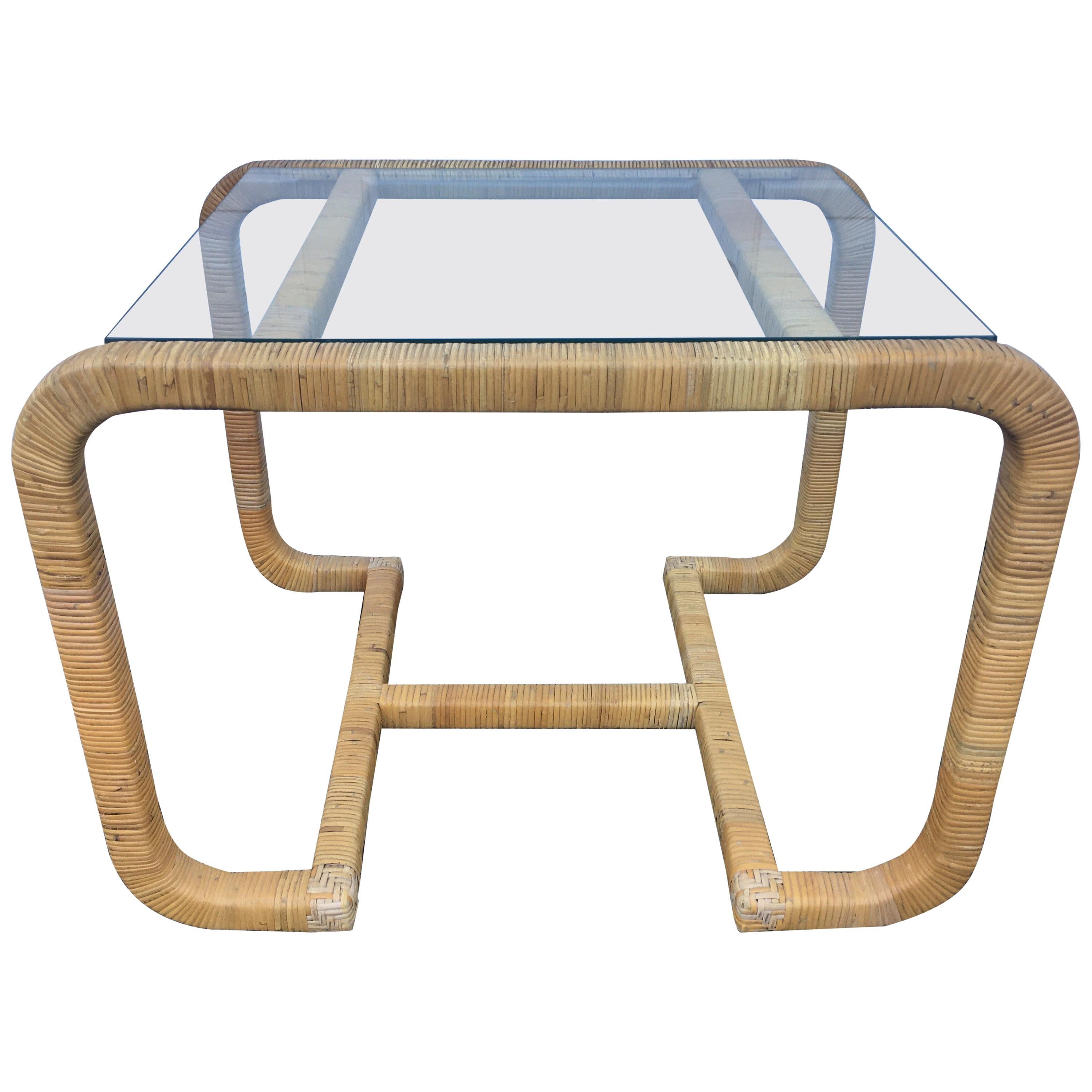 Sculptural Rattan Wrapped Glass Side Table, Palm Regency