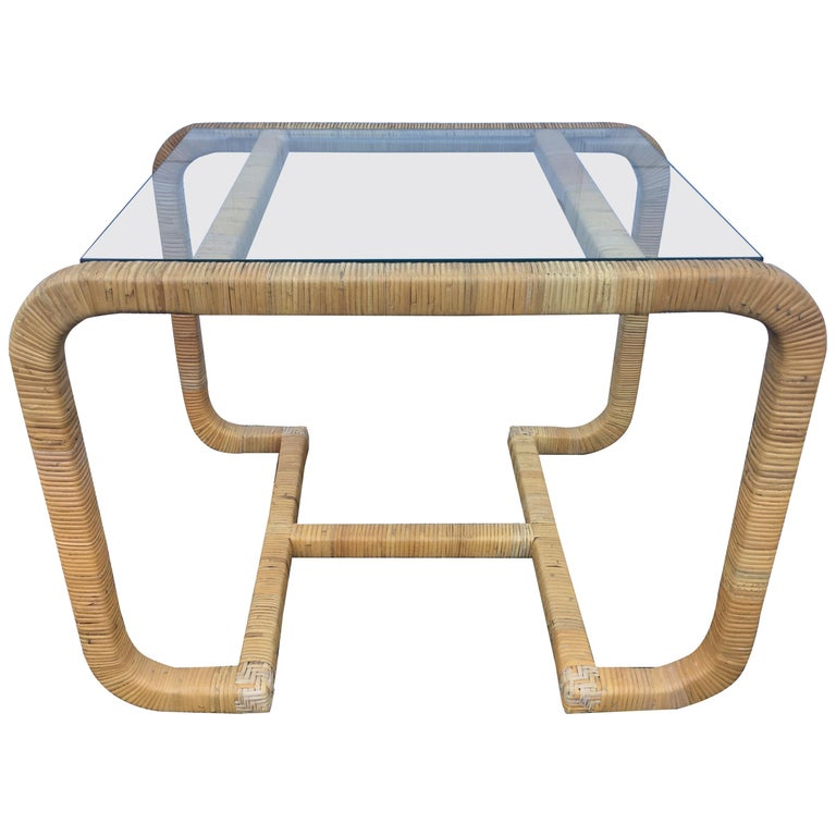 Sculptural Rattan Wrapped Glass Side Table, Palm Regency For Sale