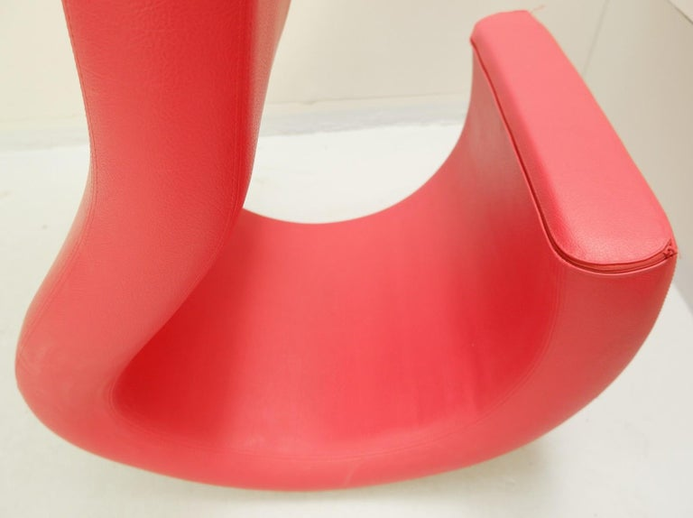 European Sculptural Red Lounge Chair For Sale