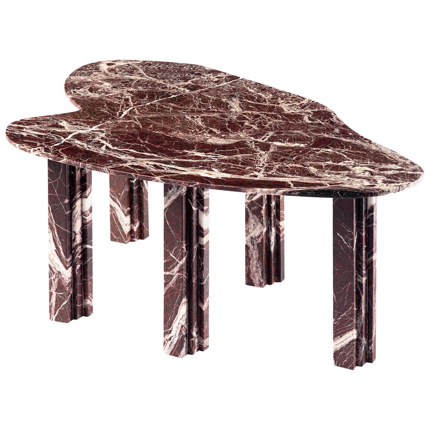 Sculptural Red Marble Coffee Table Signed by Lorenzo Bini