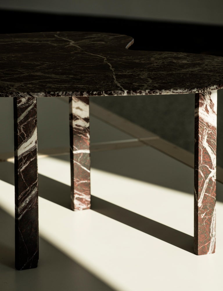 Italian Sculptural Red Marble Table, Lorenzo Bini For Sale