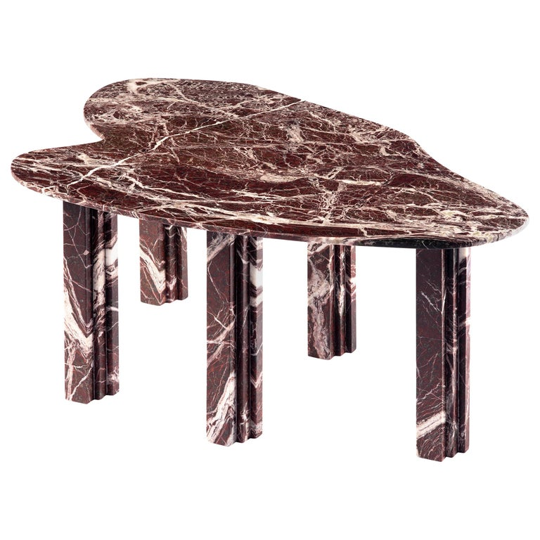 Sculptural Red Marble Table, Lorenzo Bini For Sale