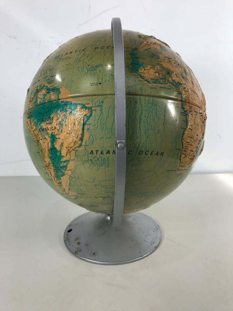 Mid-Century Modern Sculptural Relief World Globe by Nystrom For Sale