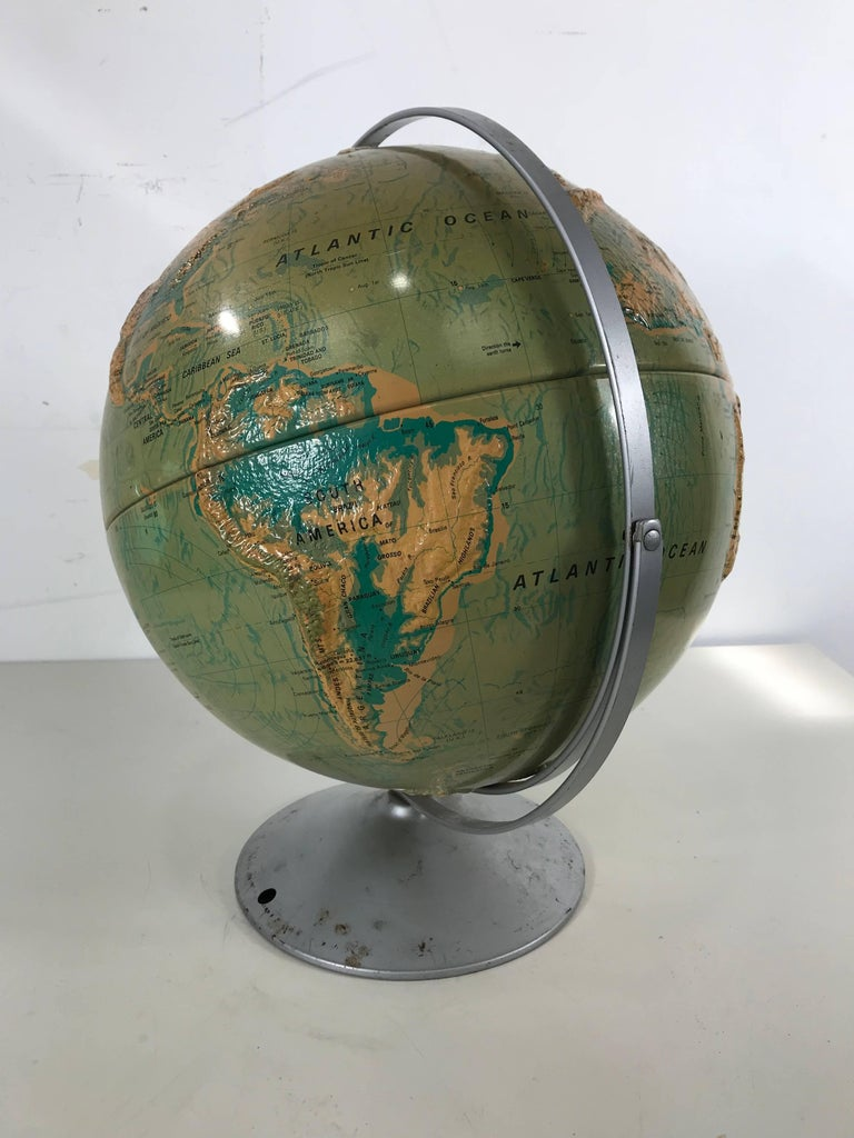 American Sculptural Relief World Globe by Nystrom For Sale