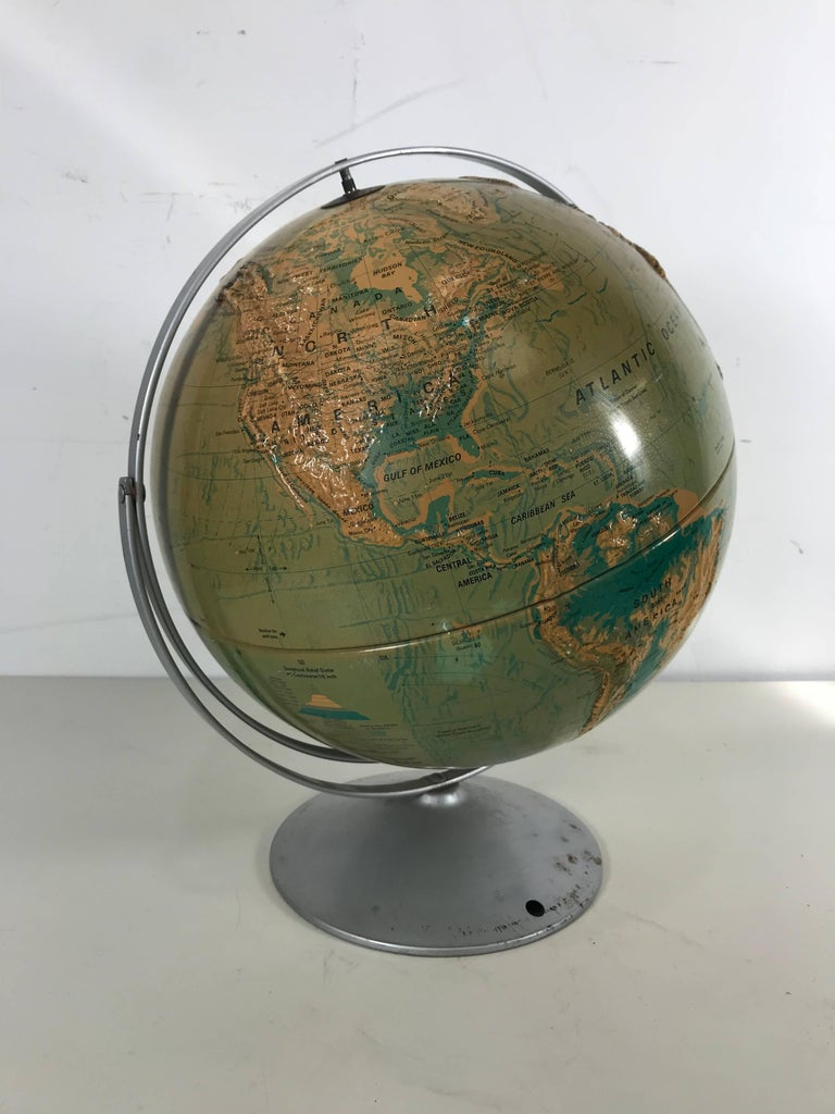 Sculptural Relief World Globe by Nystrom In Good Condition For Sale In Buffalo, NY