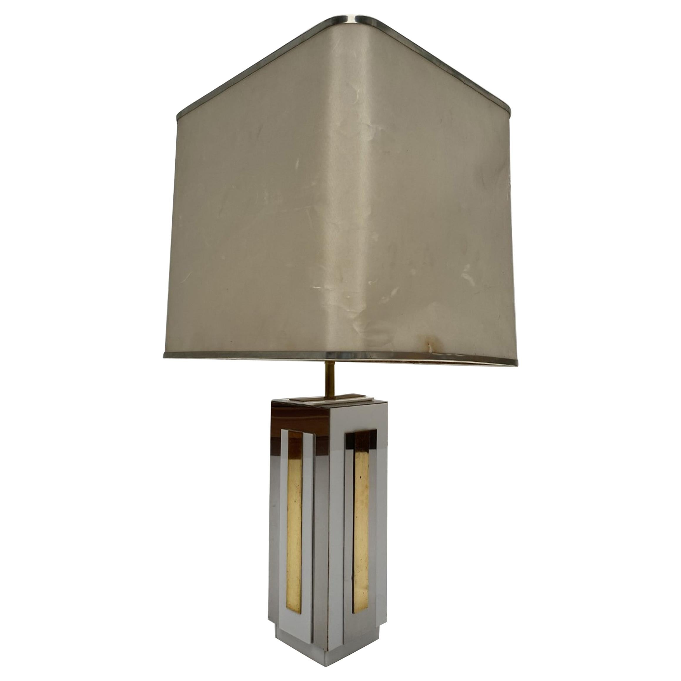 Sculptural Relief Table Lamp by Sculptor 'PH Jean' 1970 Brass Inox Lucite Signed