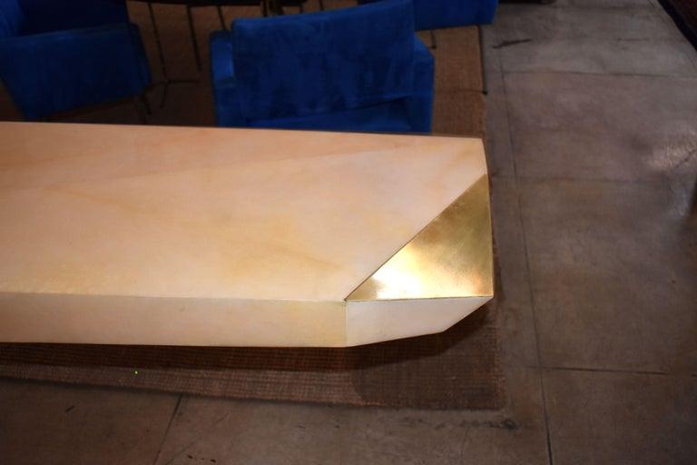 Mid-Century Modern Sculptural Rock Design Parchment Console Table For Sale