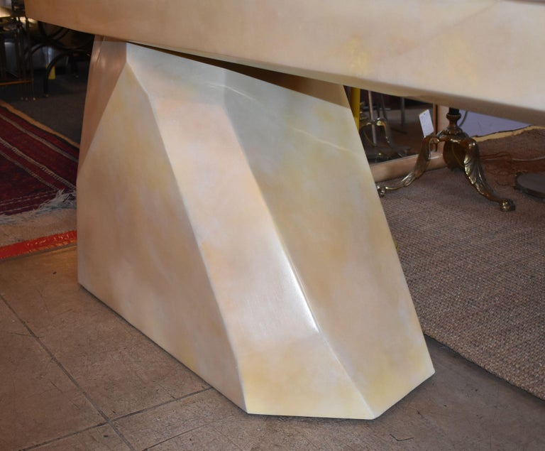 Sculptural Rock Design Parchment Console Table In Good Condition For Sale In Cathedral City, CA