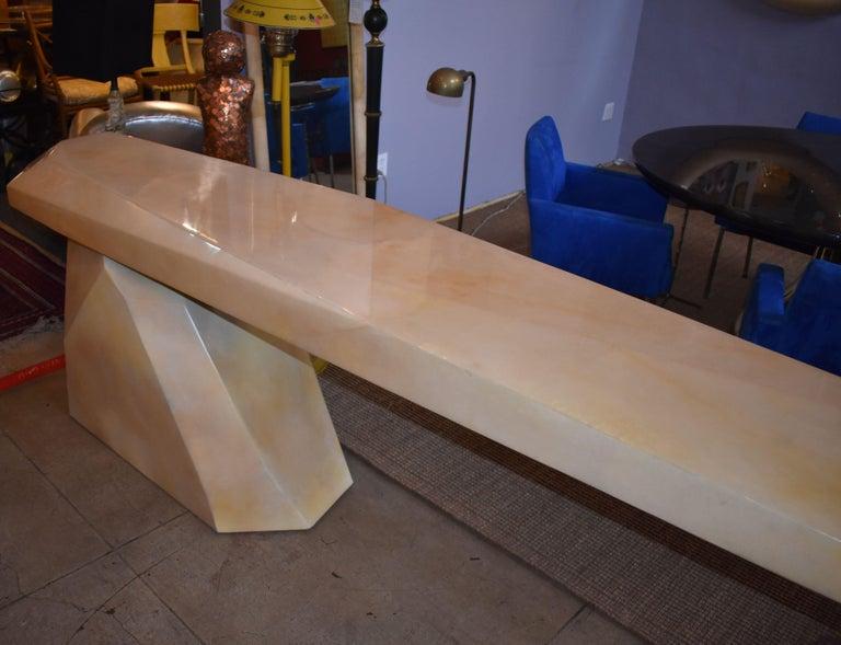 20th Century Sculptural Rock Design Parchment Console Table For Sale