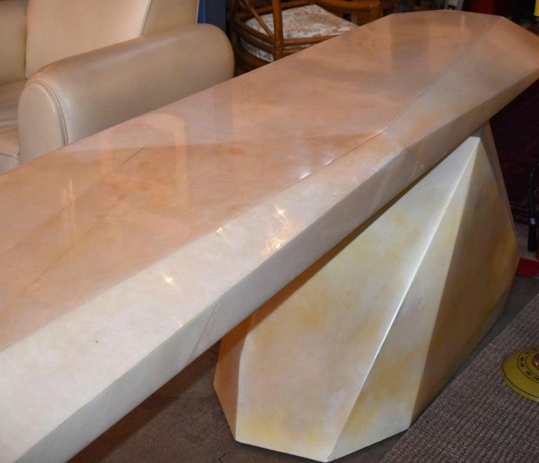 Parchment Paper Sculptural Rock Design Parchment Console Table For Sale