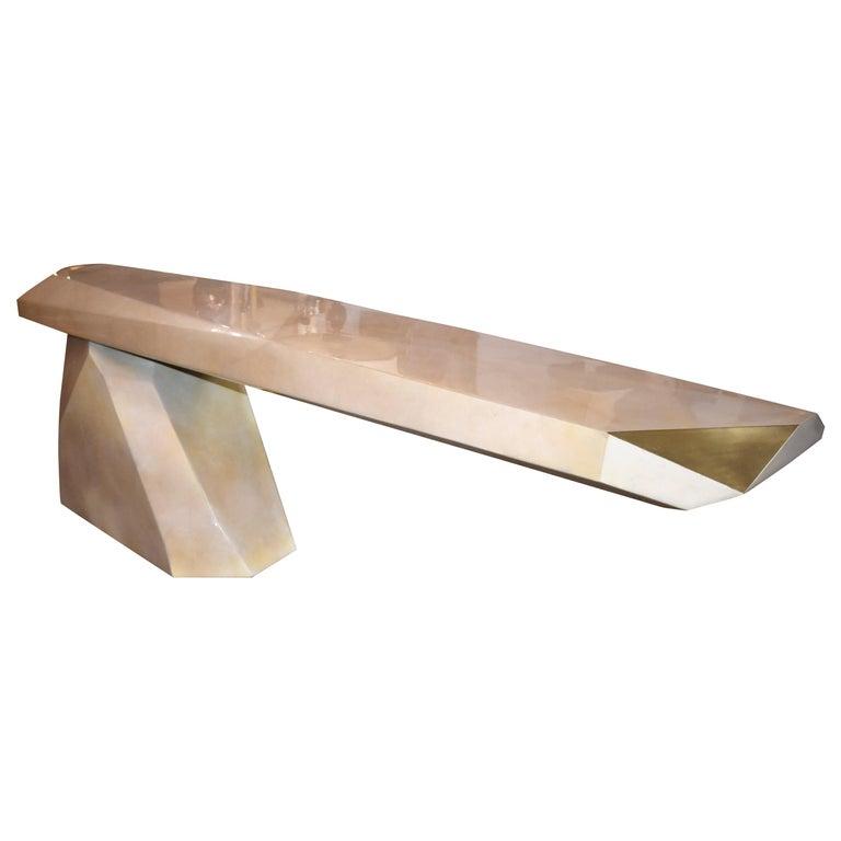 Sculptural Rock Design Parchment Console Table For Sale