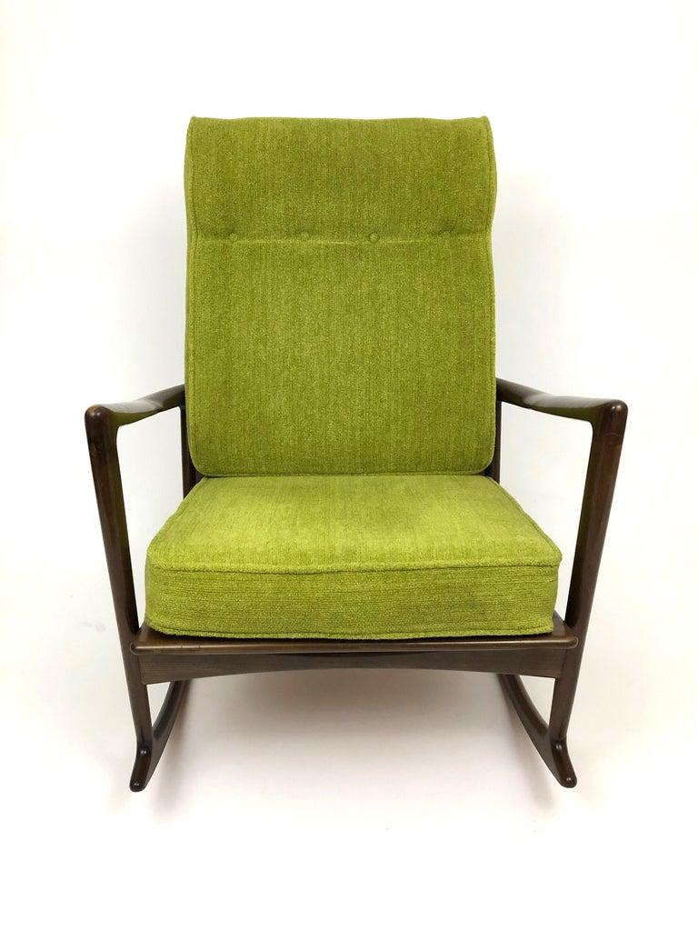 Mid-Century Modern Sculptural Walnut Rocking Chair by Ib Kofod-Larsen For Sale