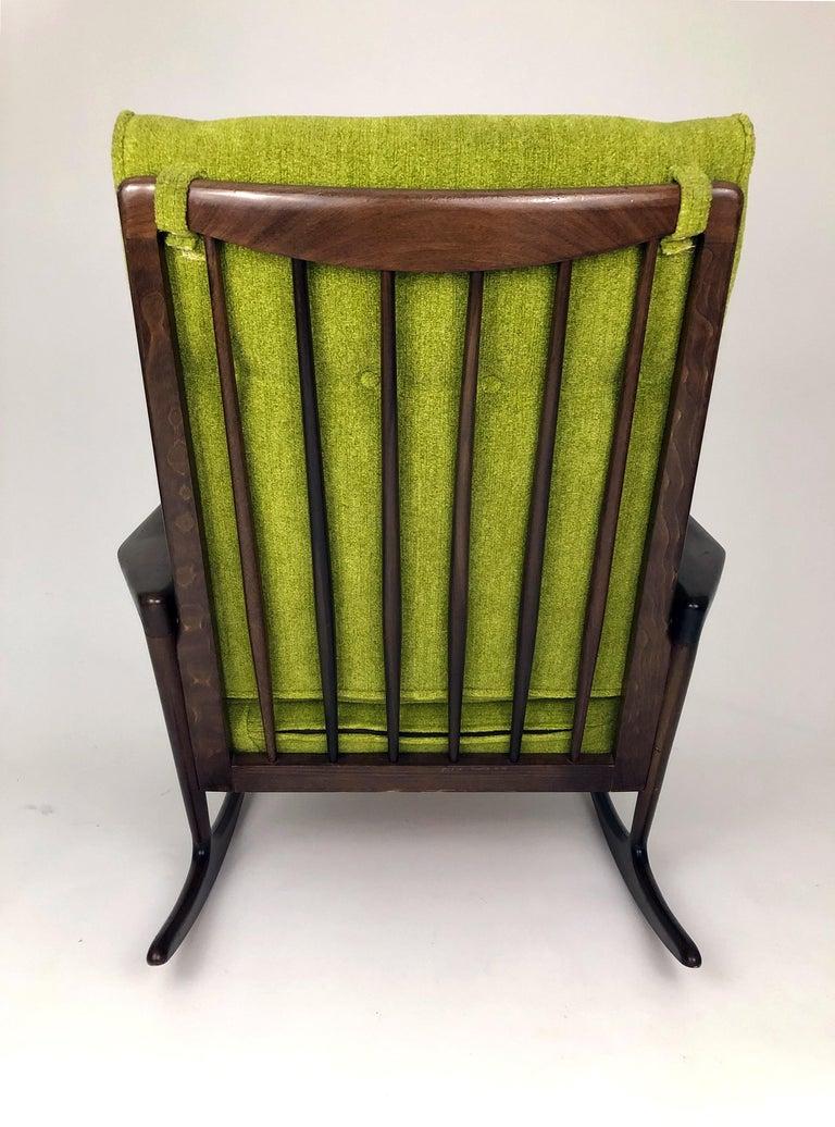 Mid-20th Century Sculptural Walnut Rocking Chair by Ib Kofod-Larsen For Sale