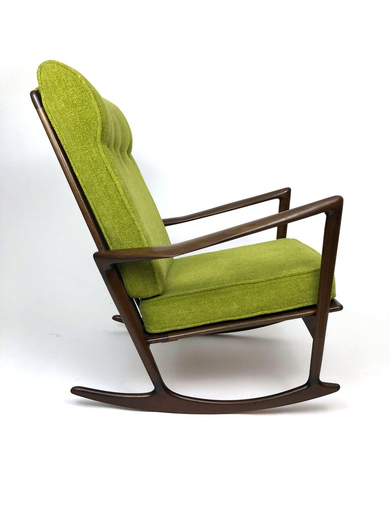 Upholstery Sculptural Walnut Rocking Chair by Ib Kofod-Larsen For Sale