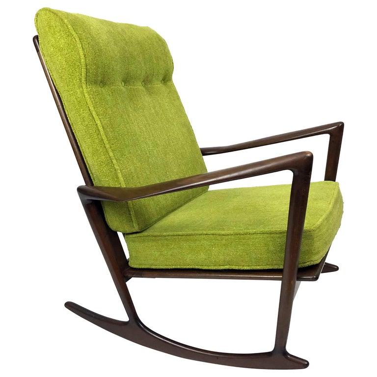 Sculptural Walnut Rocking Chair by Ib Kofod-Larsen For Sale