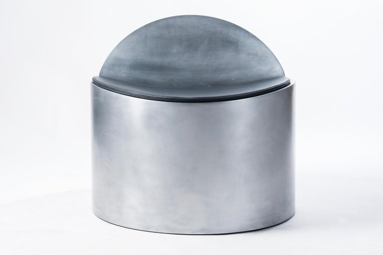 Minimalist Sculptural Rolled Chair by Jonathan Nesci in Rolled Aluminum with Leather Pad For Sale