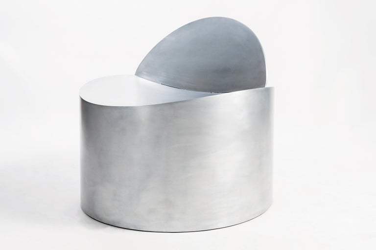 Sculptural Rolled Chair by Jonathan Nesci in Rolled Aluminum with Leather Pad In New Condition For Sale In Columbus, IN