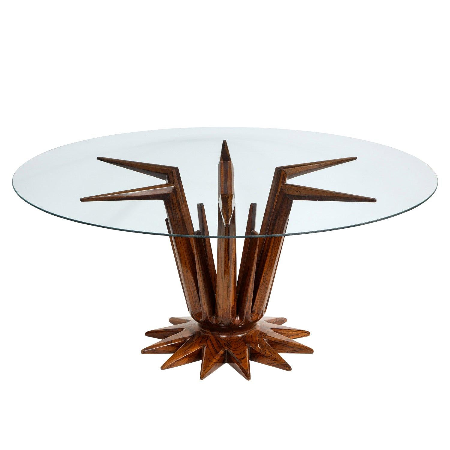 Sculptural Rosewood and Glass Coffee Table, 1950s