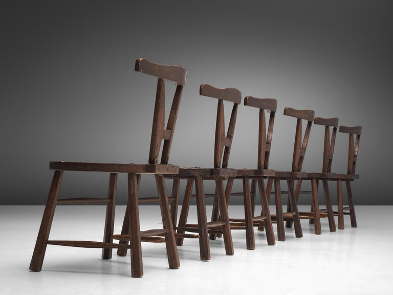 Sculptural Set of Six French Chairs in Solid Oak For Sale 5