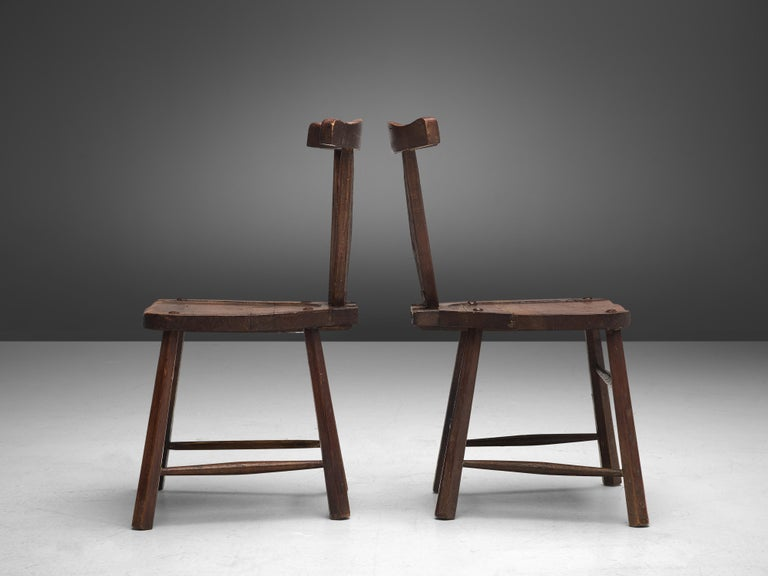 Sculptural Set of Six French Chairs in Solid Oak For Sale 6