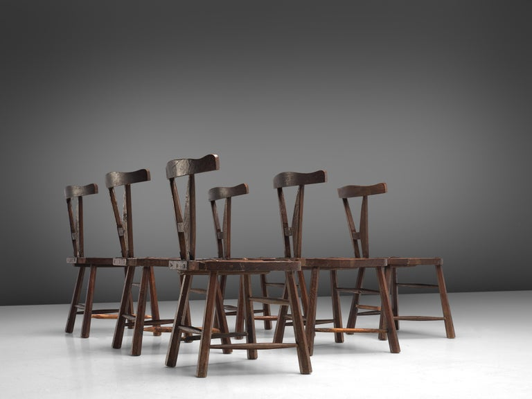 Mid-Century Modern Sculptural Set of Six French Chairs in Solid Oak For Sale