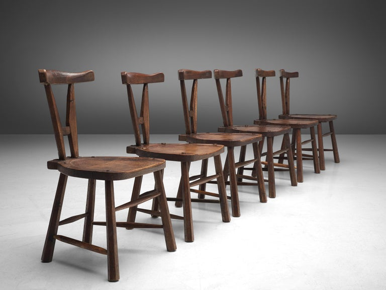 Mid-20th Century Sculptural Set of Six French Chairs in Solid Oak For Sale