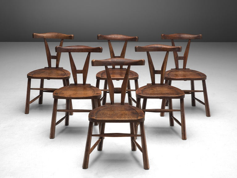 Sculptural Set of Six French Chairs in Solid Oak For Sale 3