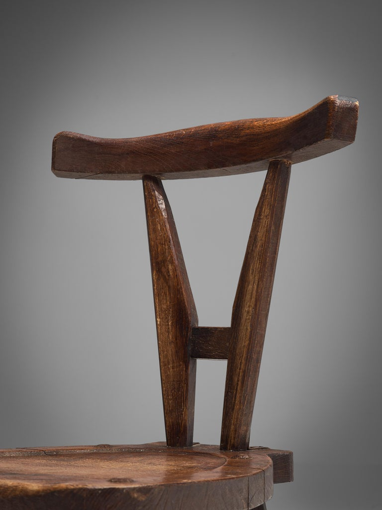 Sculptural Set of Six French Chairs in Solid Oak For Sale 4
