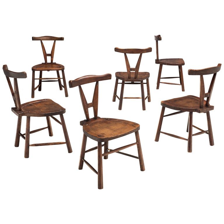 Sculptural Set of Six French Chairs in Solid Oak For Sale