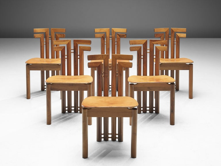 Mid-Century Modern Sculptural Set of Six Italian Dining Chairs For Sale