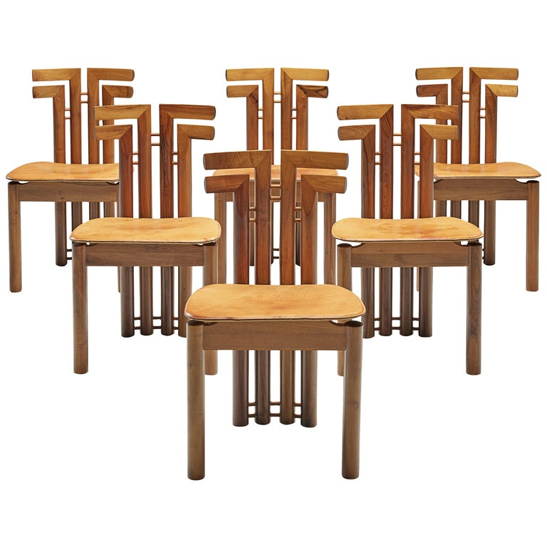 Sculptural Set of Six Italian Dining Chairs For Sale