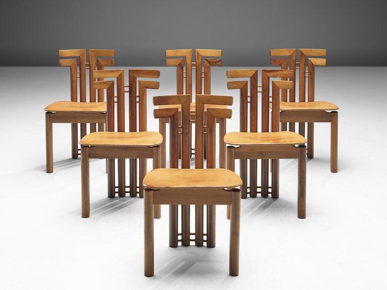 Mid-Century Modern Sculptural Set of Six Italian Dining Chairs in Walnut