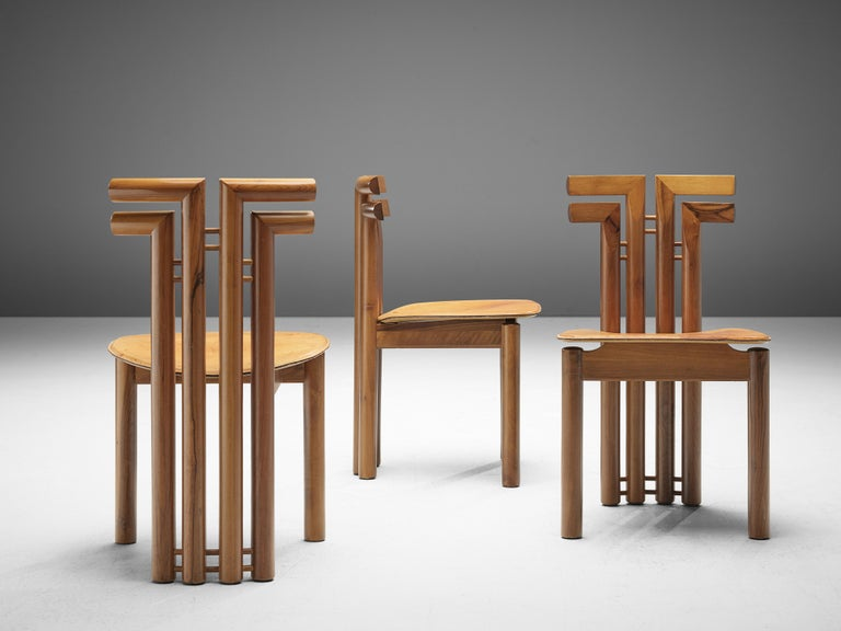 Late 20th Century Sculptural Set of Six Italian Dining Chairs in Walnut