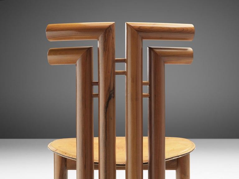 Leather Sculptural Set of Six Italian Dining Chairs in Walnut