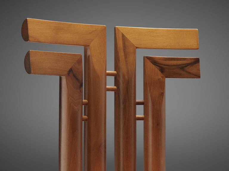 Sculptural Set of Six Italian Dining Chairs in Walnut 1