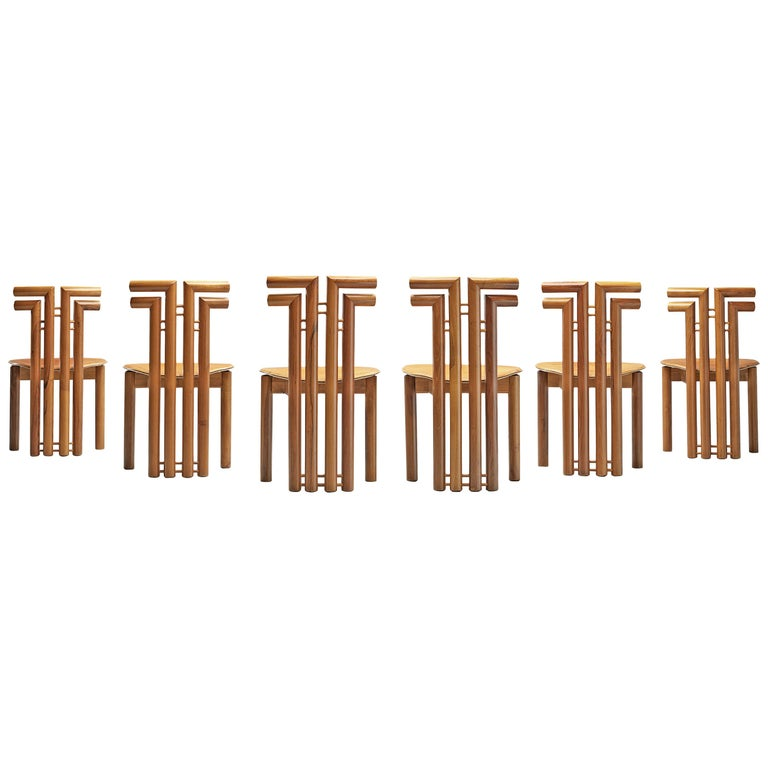 Sculptural Set of Six Italian Dining Chairs in Walnut