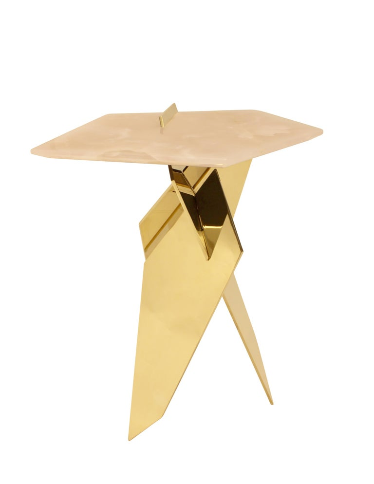 Modern Sculptural Shard Table in Polished Bronze with Pink Onyx Top For Sale